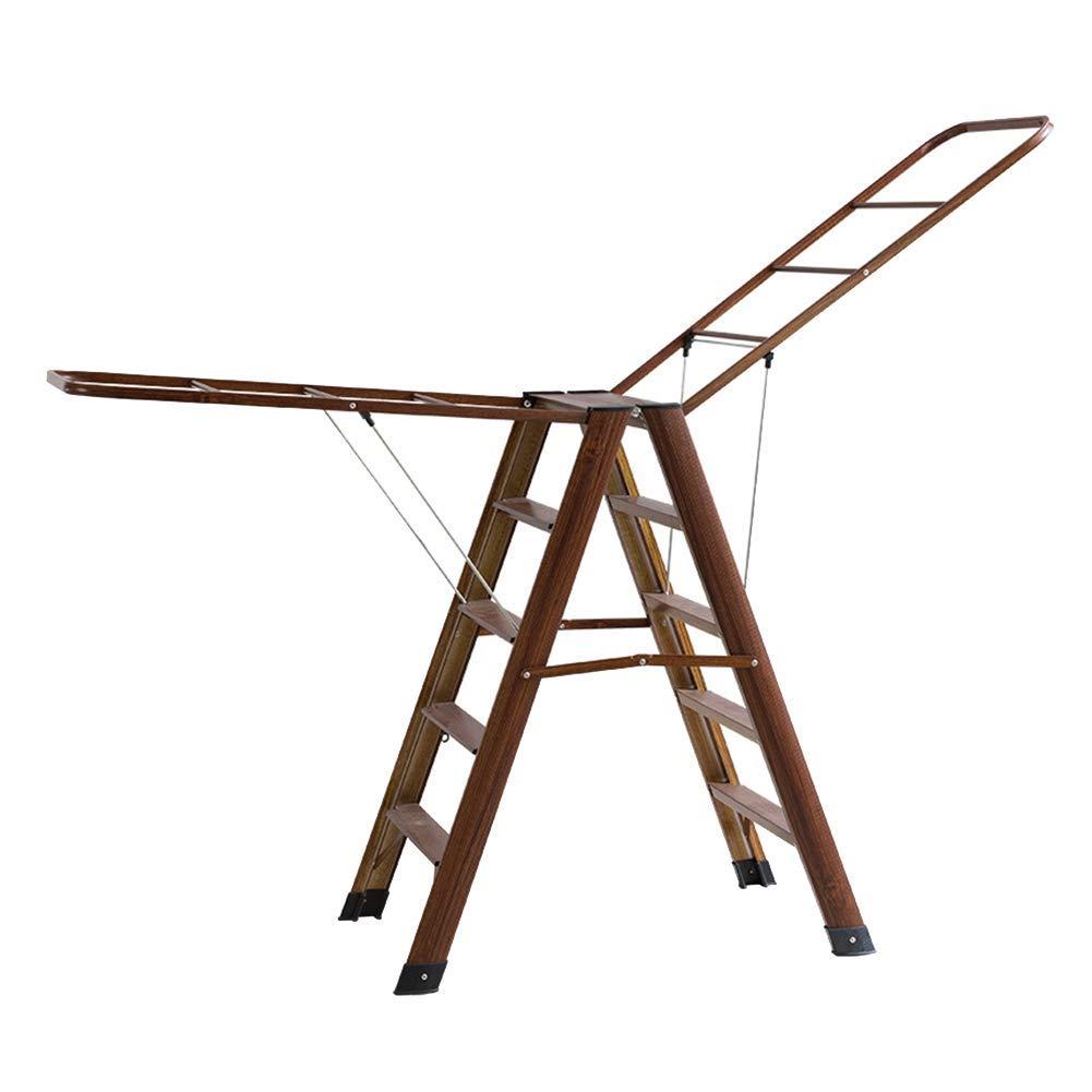 アルミフロアステップスツール、台所用乾燥衣服に適した折りたたみ椅子、4層多目的シルバー、45×106 cm (色 : Brown) B07NL5J8QR Brown