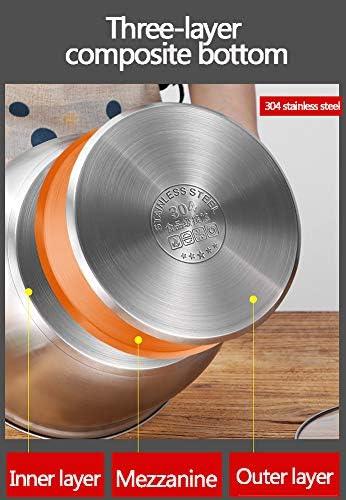 Kit d'évaporateur à induction en acier inoxydable à 2 couches, grand pot à soupe multicouche et évaporateur à couvercle en acier multicouche, revêtement miroir poli, 26 cm