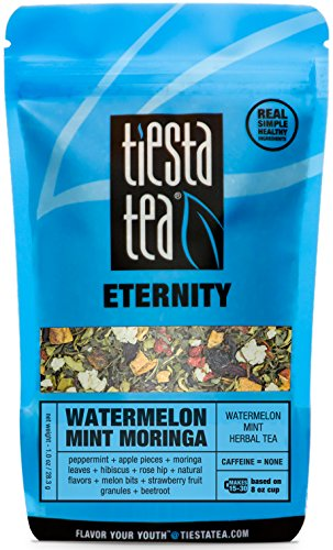 (Tiesta Tea Watermelon Mint Moringa, Watermelon Mint Herbal Tea, 30 Servings, 1 Ounce Pouch, Caffeine Free, Loose Leaf Herbal Tea Eternity Blend, Non-GMO)