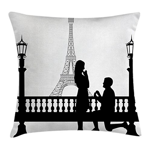 Ambesonne Engagement Party Throw Pillow Cushion Cover, Paris Lovers City Wedding Proposal for Future Image Happiness, Decorative Square Accent Pillow Case, 18