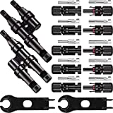 Solar Panel Tools Kit Assembly Including 5 Pairs Female and Male Connectors for MC4 2 Pieeces Spanner for MC4 and 1 Pairs Y Branch Connector(Style A)