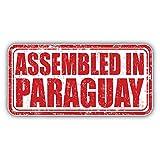 Assembled In Paraguay Grunge Travel Stamp Art Decor Bumper Sticker 6'' x 3''