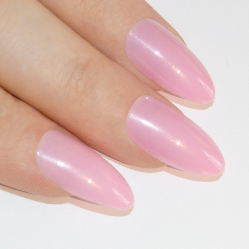 Amazon.com : Bling Art Almond False Nails Fake Stiletto Pink Sparkle ...