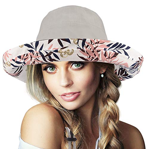 (Maylisacc Wide Brimmed Sun Protection Cotton Hat for Women Packable Floral Grey)