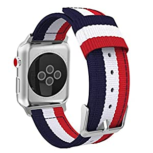 MoKo Compatible for Apple Watch Band, Fine Woven Nylon Adjustable Replacement Band Sport Strap Fit iWatch 42mm 44mm Series 4/3 / 2/1, Blue & White & Red (Not fit 38mm 40mm Versions)
