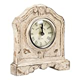 Distressed White Westport 7 x 6 Wooden Table Top Analog Clock