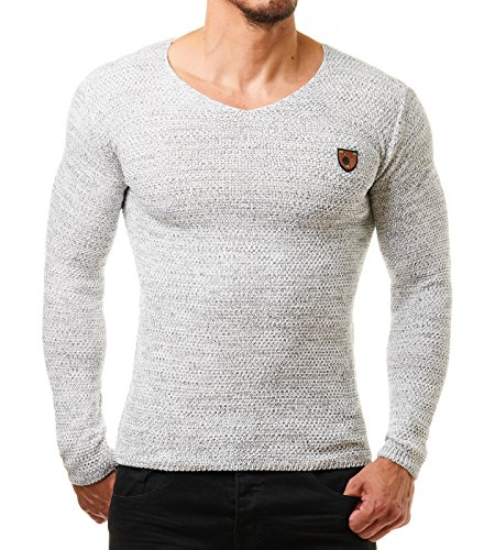 Jesse James Herren Pullover Feinstrick Schwarz Weiß 1464, Größe:L;Farbe:Weiß