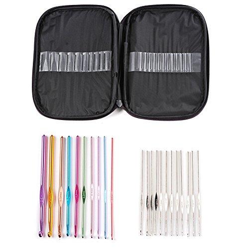DTOL 22 Pcs Mixed Aluminum Handle Crochet Hook Knitting Knit Needle Weave Yarn Set