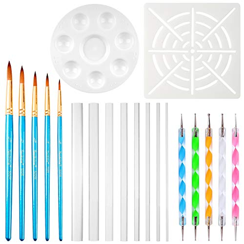 (URlighting Mandala Dotting Tools for Rock Painting, Coloring, Drawing & Drafting, Kids' DIY Crafts, Clay Sculpting, Nail Art, Include Acrylic Rods, Dotting Pen, Stencil, Brush, Paint Tray (20 Pcs))