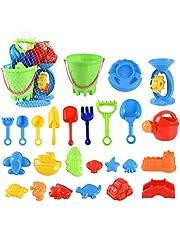 Strandzandspeelgoed voor peuters 25-delige zachte plastic zwembadbadspeelset met emmerkasteelvormen en netzak Sandbox-speelgoed voor kinderen Baby