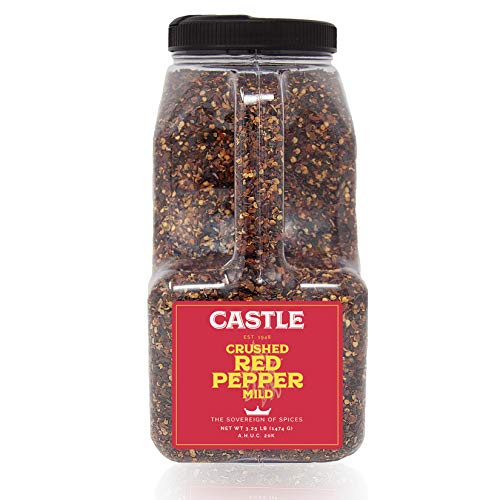 (Castle Foods | Crushed Red Pepper Mild Container, 3.25 LBS Premium Restaurant Quality)