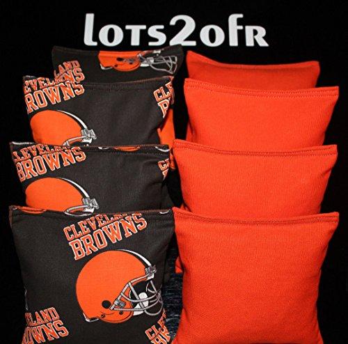 CORNHOLE BEAN BAGS w CLEVELAND BROWNS fabric logo bags (Cleveland Browns Cornhole Bags)