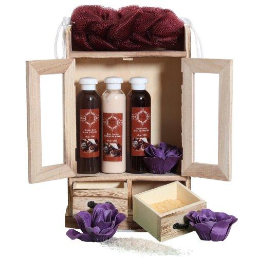 Brubaker Cosmetics 10 Pcs Beauty Gift Set Women Wooden Cabinet Chocolate