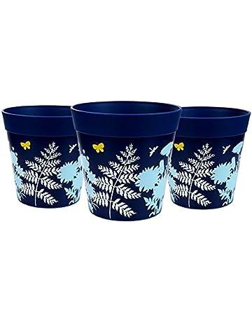 Macetas Hum, set de 3 macetas azules, macetas de colores, macetas de interior