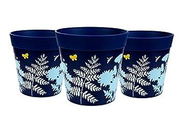 Macetas Hum, set de 3 macetas azules, macetas de colores, macetas de interior/exterior