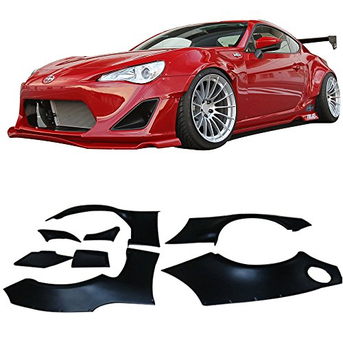 Fender Flares Fits 2012-2017 Scion FRS Subaru BRZ | GR Style Black ABS Plastic Front Rear Right Left Wheel Cover Protector Vent Trim by IKON MOTORSPORTS |  2013 2014 2015 2016