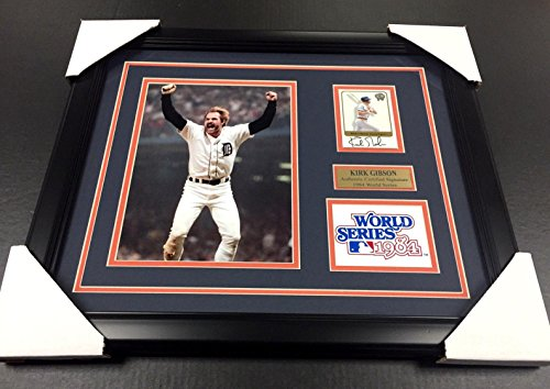 Kirk Gibson Signed Photo - Card 1984 WORLD SERIES 8x10 FRAMED - Autographed MLB Photos