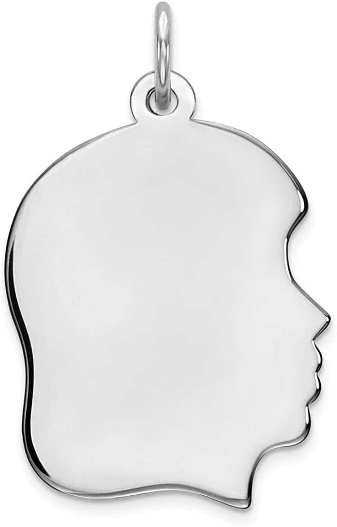 Girl Polish Front Back Disc Pendant Charm Necklace Engravable Right Facing Boy Head Fine Jewelry For Women Gifts For Her 925 Sterling Silver Rhod Plate Eng