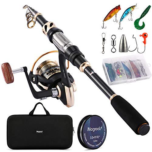 Magreel Telescopic Fishing Rod and Reel Combo Set with Fishing Line, Fishing Lures Kit Accessories and Carrier Bag for Saltwater Freshwater