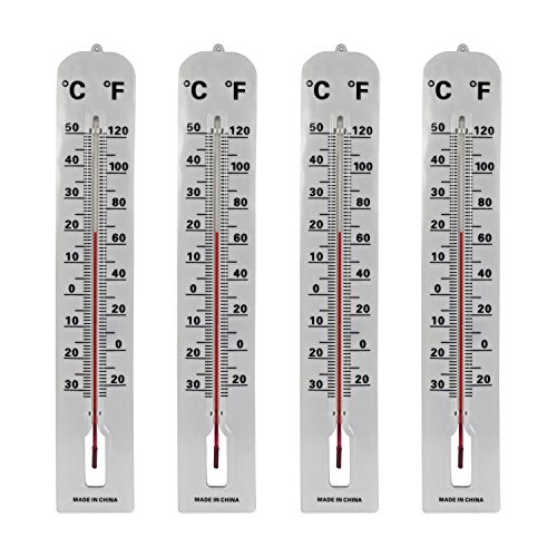 Black Duck Brand Set of 4 Jumbo Wall Indoor/Outdoor Thermometers! Includes Mounting Hardware! 16