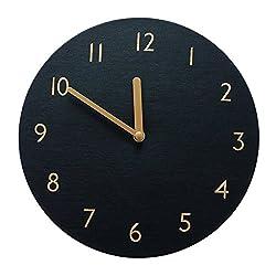 Decorative Wall Clock Silent & Non-Ticking Quartz Clock PU Leather Lightweight 0.4lb Round 9 (Black)