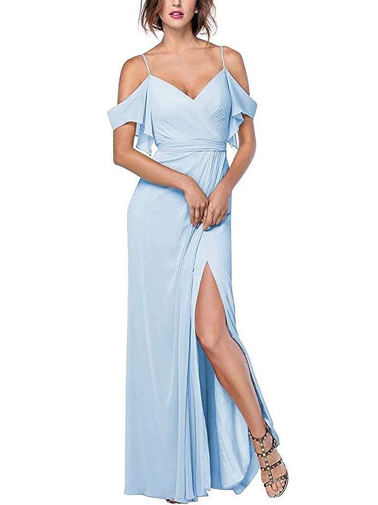 Lightbluee RTTUTED Women's Spaghetti Strap Slit Bridesmaid Dresses Long Evening Formal Gown