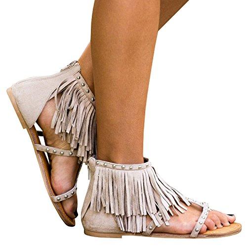 Dellytop Women's Flip Flops Fringe Tassals Thong Zip Keep The Peace Sandal for Summer Vacation ()