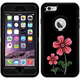 Flower Doubles Red design on Black OtterBox Defender Series Case for iPhone 6 Plus and iPhone 6s Plus