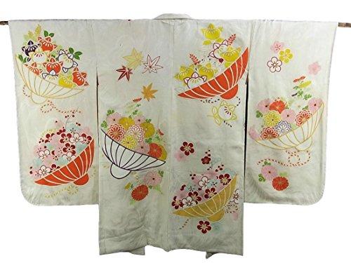 タヒチ説教地域アンティーク 羽織 花笠文様 正絹 裄64cm 身丈92cm