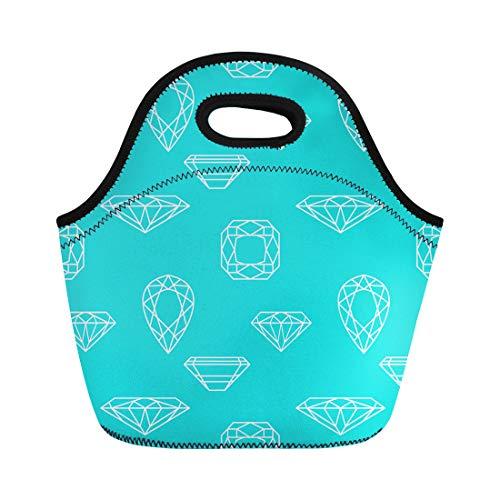 (Semtomn Lunch Bags Crystal Blue Bright Diamond Colorful Brilliant Gem Gemstone Geometric Neoprene Lunch Bag Lunchbox Tote Bag Portable Picnic Bag Cooler Bag)