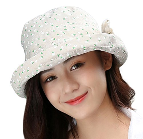 IL Caldo Woman's Fashionable Pattern Sun Cap Bucket Hat With Lovely Flower,Beige (Spring Church Hats)