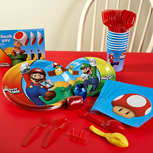 Super Mario Bros Party Supplies - Basic Party Pack for 16 (Mario Accessory Child Kit)
