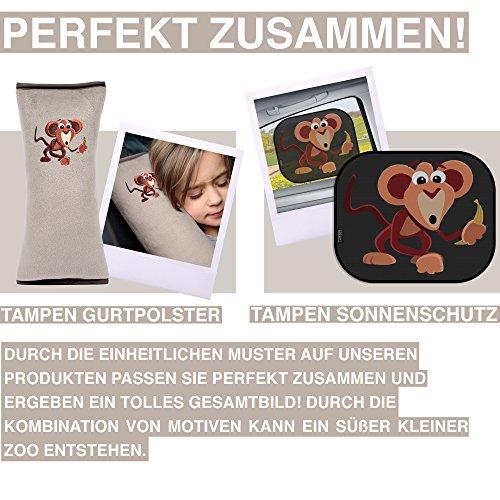 Tampen Gurtpolster f/ür Kinder /· Schadstoffgepr/üft /· Maschinenwaschbar /· Super weich /· Hochwertiges Auto Schlafkissen /· Gurtkissen /· 30cm x 12cm /· Grau /· Affe
