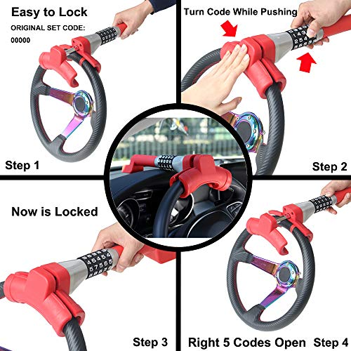OKLEAD 5 Coded Steering Wheel Lock Universal Keyless Twin Hook Lock Anti Theft Locking Device by OKLEAD (Image #2)