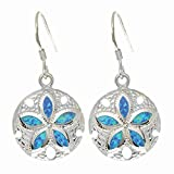 Sterling Silver With Rhodium Finish Shiny Textured Opal Sand-dollar Drop Earrings