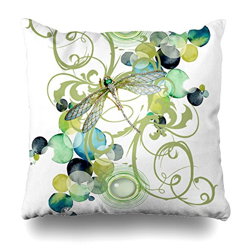 (Decorativepillows 18 x 18 inch Throw Pillow Covers,Cute Dragonfly with Abstract Swirls Chic Pearls Pattern Double-Sided Decorative Home Decor Indoor/Outdoor Garden Sofa Bedroom Car Kitchen Nice Gift)