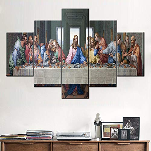 Wall Pictures for Living Room Jesus Christ Wall Art Last Supper Paintings 5 Panel Canvas The Lord