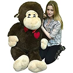 Giant Valentines Day Stuffed Monkey 60 Inch Soft 5 Foot Plush Ape, Heart on Chest to Express Love