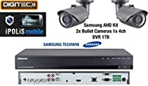 Samsung AHD 1080p 2x Outdoor IR Bullet Cameras (SCO-6023R) & 1x 4Ch DVR 1TB (SRD-494) Surveillance Kit