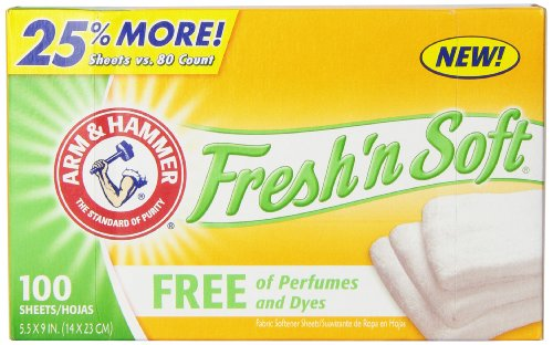 Arm & Hammer Fresh 'n Soft Fabric Softener Sheets, Free, 100 Count