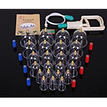 24-Cup Biomagnetic Traditional Chinese Cupping Therapy Set,Premium Quality,24-Cup Plastic Vacuum Cupping Massage Kit