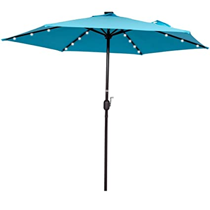 Sundale Outdoor 9FT Solar Powered 24 LED Lighted Patio Umbrella Table  Market Umbrella With Crank For