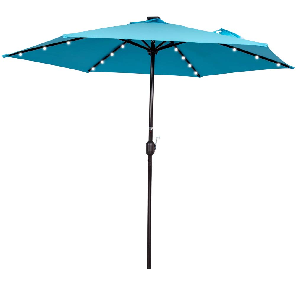 Sundale Outdoor 9FT Solar Powered 24 LED Lighted Patio Umbrella Table Market Umbrella with Crank for Garden, Deck, Backyard, Pool, 6 Steel Ribs, 100% Polyester Canopy, No Tilt (Light Blue)