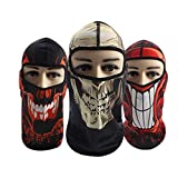 hefeilzmy 3 Packs Breathable Riding Full Face Mask Windproof Dust Protection Outdoor Cycling Hood Skulls Pattern Hood Men