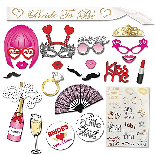 Bachelorette Party Supplies Kit - Bridal Shower Supplies | Bride to be Sash, LARGE Bachelorette Party Photo booth Props (20 pieces) with Glitters, Bachelorette Tattoos By Amera Ultra