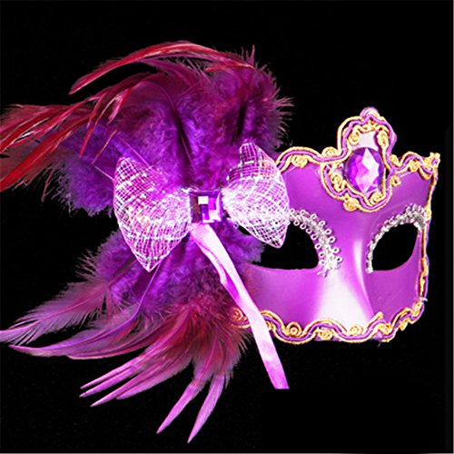 JinYiDian'Shop Halloween mask Make-up dance show Painted feathers Half face lace Beautiful princess Butterfly knot masks,purple -