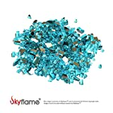 Skyflame High Luster 10-Pound Fire Glass for Fire Pit Fireplace Landscaping, 1/4-Inch Caribbean Blue Reflective