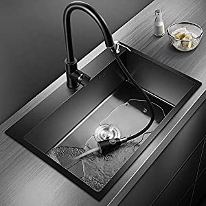 25″ Drop-In or Undermount Single Bowl Kitchen Sink / Bar Sink with Pull-Down Faucet, Soap Dispenser, Telescopic Drain Basket, Made of Stainless Steel with Nano Coating (Black)