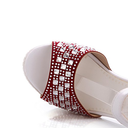 AllhqFashion Women's Frosted Open Toe High Heels Buckle Solid Sandals Red oAb2pcAs
