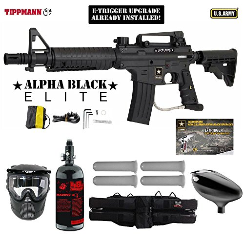 MAddog Tippmann U.S. Army Alpha Black Elite Tactical w/E-Grip Starter HPA Paintball Gun Package - Black